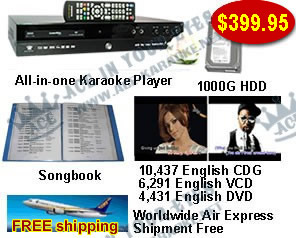 All-in-one Karaoke Player with 21,159 English CDG,VCD,DVD songs